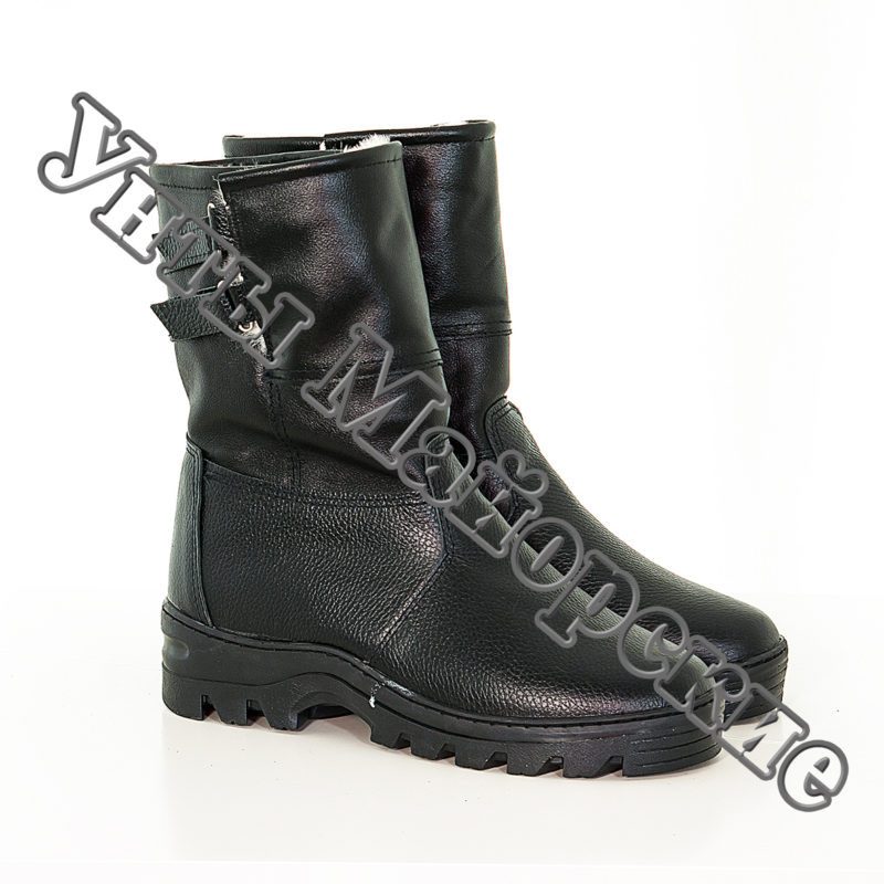 ММ-14 Черные сапоги, юфть, литая